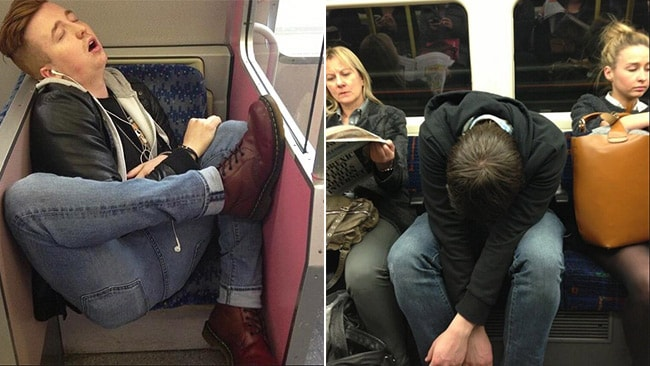 The guy on the left is busting a move. Picture: SleepyCommuters/Twitter