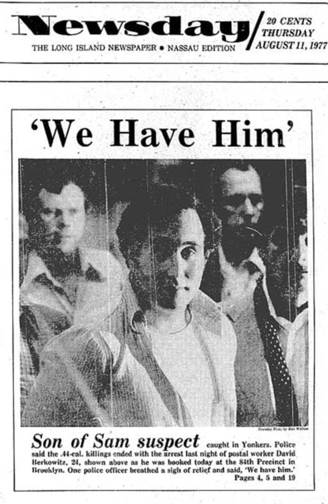 The front page of the Newsday newspaper after the arrest of David Berkowitz.
