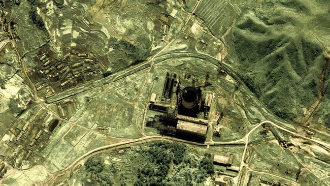 This 2002 satellite image shows the southern area of the Yongbyon nuclear facility in North Korea.