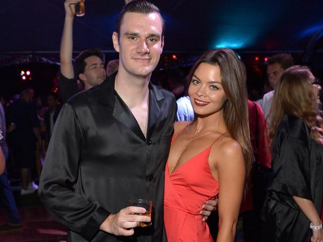 Cooper Hefner and Scarlett Byrne attend the annual Midsummer Night's Dream Party at the Playboy Mansion hosted by Hugh Hefner on August 1, 2015 in Los Angeles, California. Picture: Charley Gallay/Getty Images for Playboy