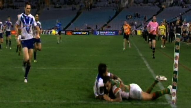 Video still showing Ben Barba's match-saving tackle on Dylan Farrell during the Canterbury Bulldogs v South Sydney Rabbitohs NRL game at ANZ Stadium, Olympic Park.