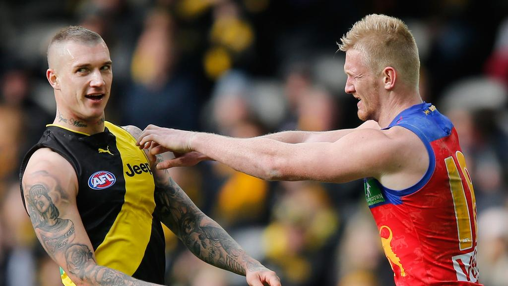 Dustin Martin tussles with Nick Robertson. (Photo by Michael Dodge/Getty Images)