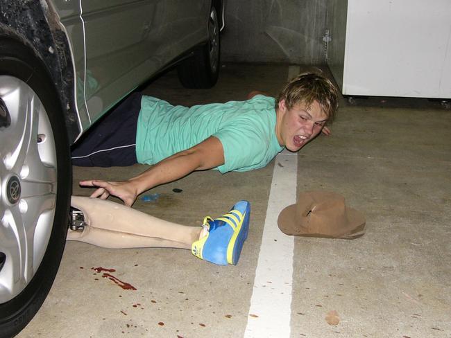 Sam Bramham, undertaking one of his leg pranks.