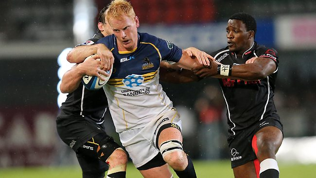 Brumbies forward Peter Kimlinon the charge against the Sharks at the Kings Park Rugby Stadium in Durban Picture: Anesh Debiky