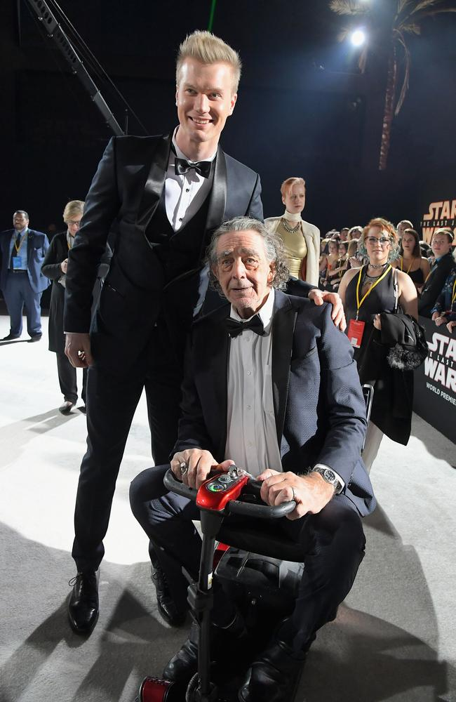 The two men who play Chewbacca: Joonas Suotamo and Peter Mayhew.