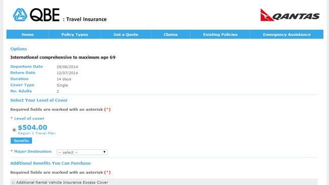A screengrab of the cost of travel insurance with Qantas.