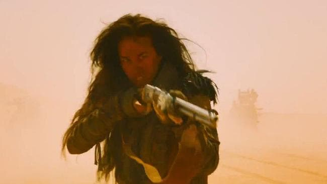 Action woman Megan Gale in the trailer for Mad Max: Fury Road.
