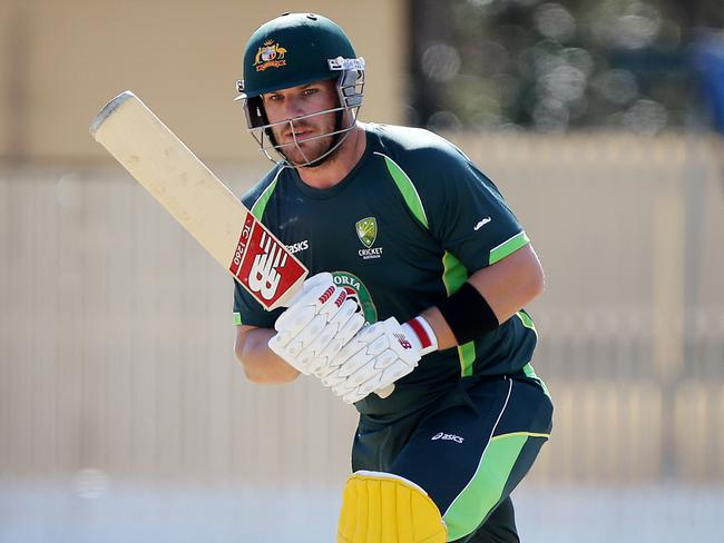 Aaron Finch was in ominous form in a practice match before the Aussies flew to Zimbabwe. Picture: Peter Wallis.