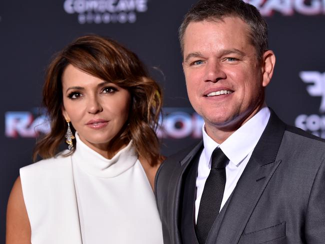 Matt Damon and wife Luciana Barroso at the Thor: Ragnarok premiere. Picture: Frazer Harrison/Getty Images