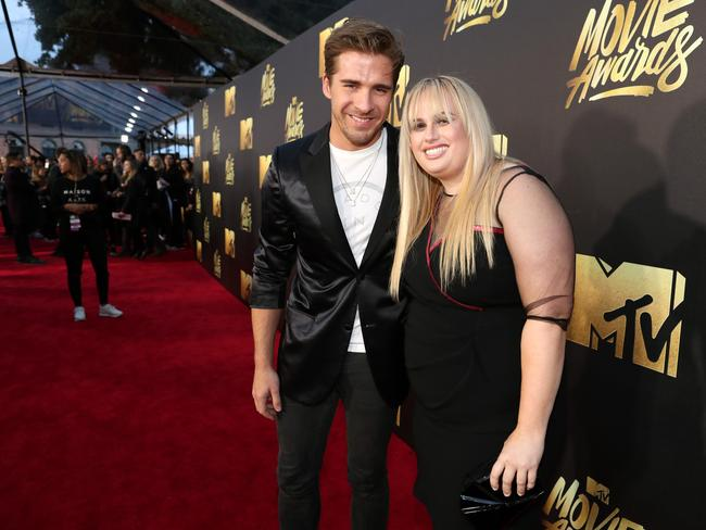 Hugh Sheridan with Rebel Wilson at the 2016 MTV Movie Awards. Picture: Christopher Polk/Getty Images for MTV