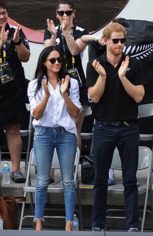 Prince Harry and Suits actress Meghan Markle cheered on the competitors in Canada. Picture: Nathan Denette/The Canadian Press via AP