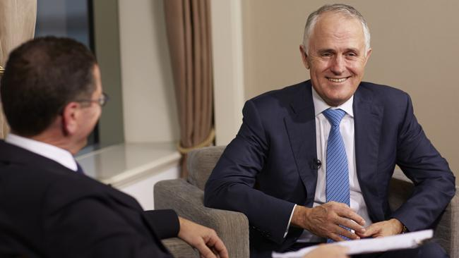 Malcolm Turnbull with interviewer Alex Malley on The Bottom Line.