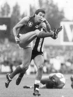 Melbourne champion Robbie Flower in full flight in 1984.