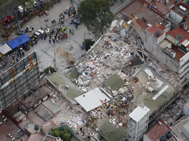 A collapsed building in the Roma Norte neighbourhood of Mexico City. Picture: Rebecca Blackwell/AP