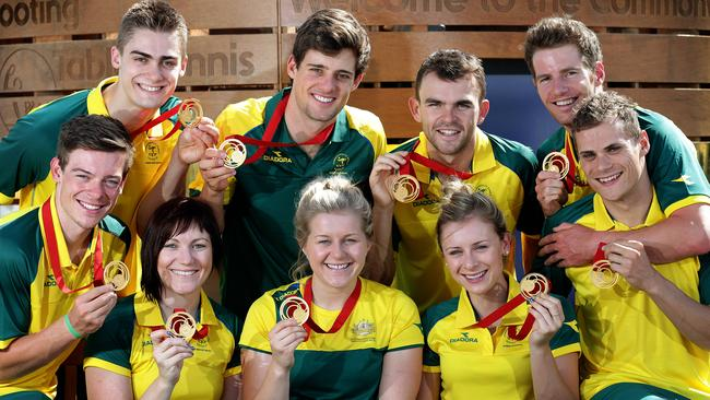 The victorious Aussie track cycling team, including (back) Matthew Glaetzer, Luke Davison, Jack Bobridge, Glenn O'Shea, (front), Alex Edmondson, Anna Meares, Stephanie Morton, Annette Edmondson, Scott Sunderland. Picture: Adam Head