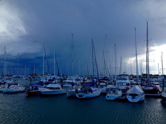 Storm front approaches Scarborough boat harbour. Pic Darren England
