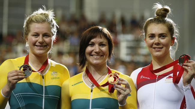 (Left to right) Time trial medallists Stephanie Morton, Anna Meares and England's Jess Varnish.