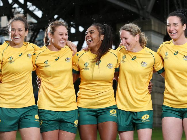 L-R Shannon Parry, Sharni Williams, Mahalia Murphy, Ash Hewson and Mollie Gray will all play major roles with the Wallaroos at the World Cup.