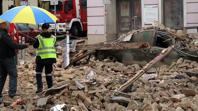 Fatal ... a 19-year-old man died in the blast which caused an apartment to collapse. Pict