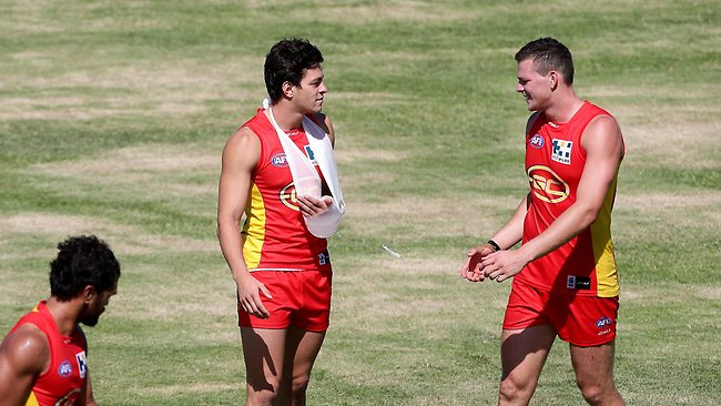 16/3/13 AFL -The Gold Coast Suns play the Melbourne Demons in NAB Cup game at Southport Sharks on the Gold Coast. Jesse Lonergan in a sling after the game. Pics Adam Head Picture: Adam Head