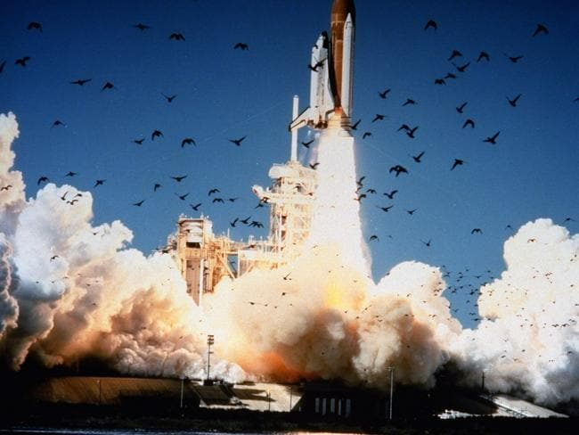 "A minute later, the shuttle would explode after a part called an ""O-ring"" seal malfunctioned, causing a catastrophic chain of events. (AP Photo/NASA)"