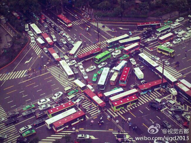 China gridlock. Picture: Weibo.com