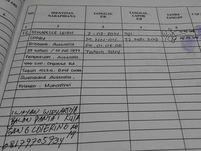 Signed and delivered ... Schapelle Corby's signed parole document.