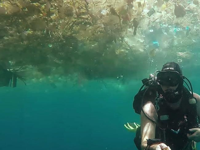 British man Richard Horner has filmed the amount of plastic in the ocean off Indonesia. Picture: YouTube
