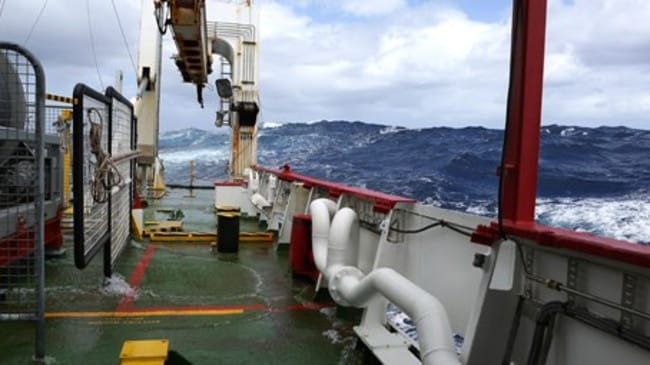 Stormy weather ... search vessels have experienced cyclonic seas as part of the massive operation to find the missing aircraft. Picture: ABIS Chris Beerens, RAN.