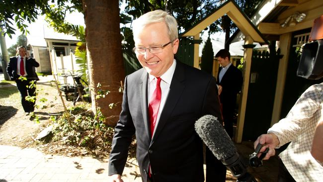 Prime Minister Kevin Rudd leaving his Norman Park home. Picture: Mark Calleja