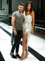 Jodi Anasta and designer Johnny Schembri before his show By Johnny during Australian Fashion Week at Carriageworks in Sydney. Picture: Brett Costello