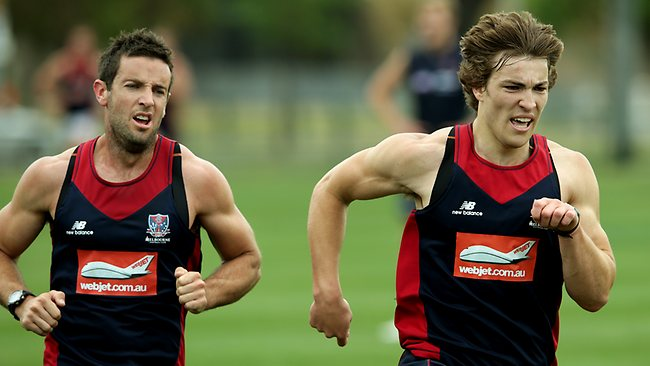 Melbourne training at Gosch's Paddock. Jack Viney and Shannon Byrne Picture: Klein Michael