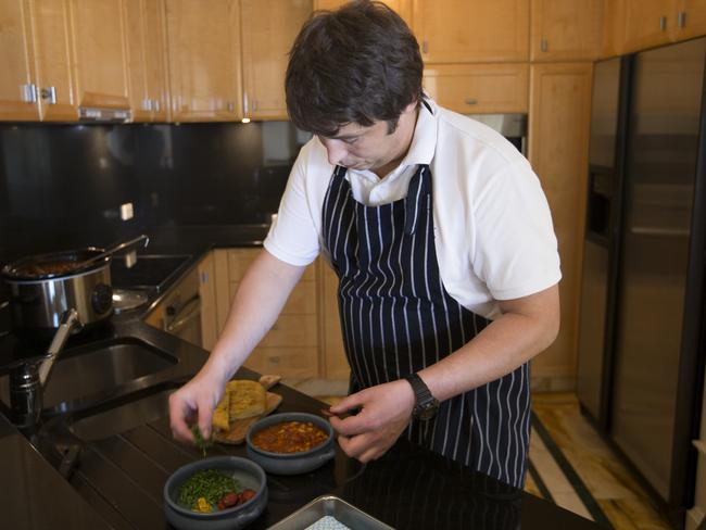 Vanita's chef James Fiske whips up a chorizo cassoulet Pic: Russell Shakespeare