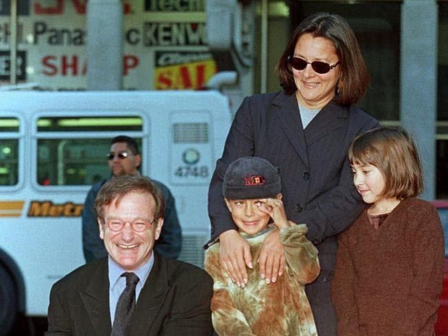 Doting dad ... Robin Williams (L) with family members Cody (C), Zelda (R) and former wife Marsha (back R) in 1998 at the hand and footprint ceremony outside the world famous Mann's Chinese Theatre in Hollywood, California.