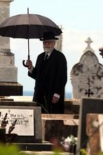 The filming of the Great Gatsby continues in Sydney, this time they are filming the burial scene at Waverly Cemetery with fake rain . No stars spotted at this stage Picture: John Grainger