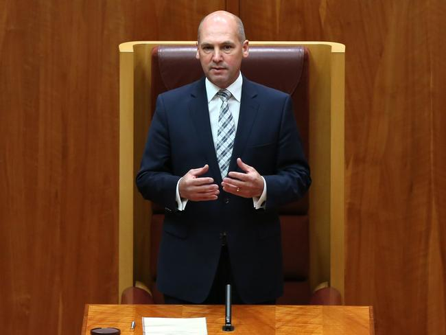 Getting down to business ... Liberal Senator Stephen Parry, who is the New President of the Senate.