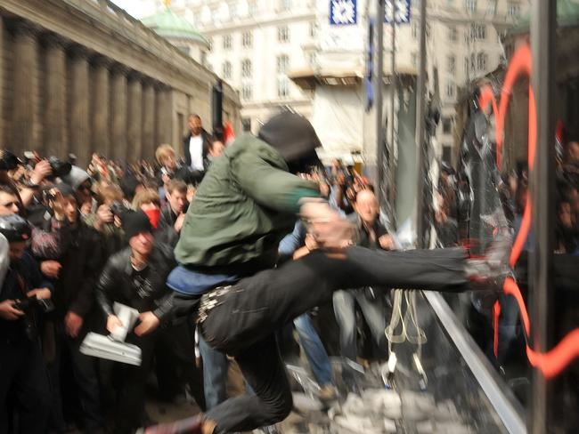 A G20 London summit riot in 2009. Picture: AFP/Leon Neal