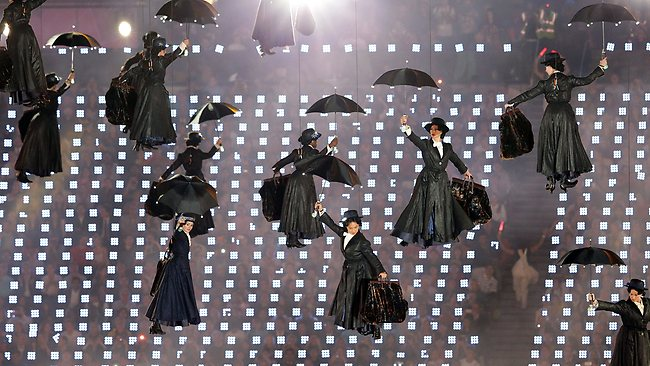 A collection of Mary Poppins floats in from the sky. Picture: Adam Head