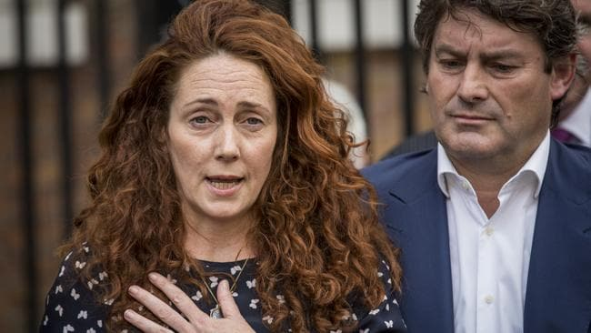 Cleared ... former News International chief executive Rebekah Brooks and her husband Charlie Brooks give a statement outside their home in London, England. Picture: Rob Stothard / Getty Images