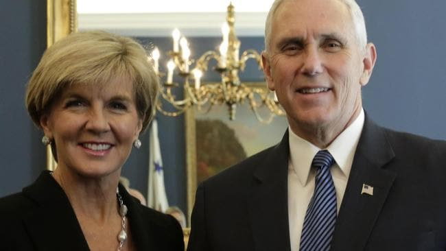 Image result for VP Mike Pence with Julie Bishop in Washington DC