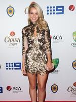 Rebecca O'Donovan on the red carpet arriving at the 2014 Allan Border Medal held at Doltone House at Hyde Park. Picture: Richard Dobson
