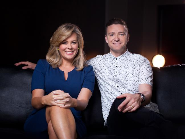 Sunrise co-host Samantha Armytage with singer Justin Timberlake in Vegas. Picture: Seven Network