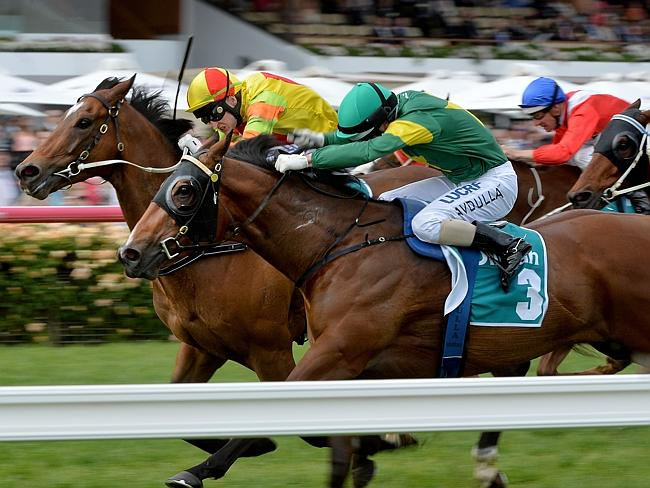 Lankan Rupee gets the upper hand against Snitzerland in the Dilmah Earl Grey Stakes at Flemington last spring. Picture: Jay Town