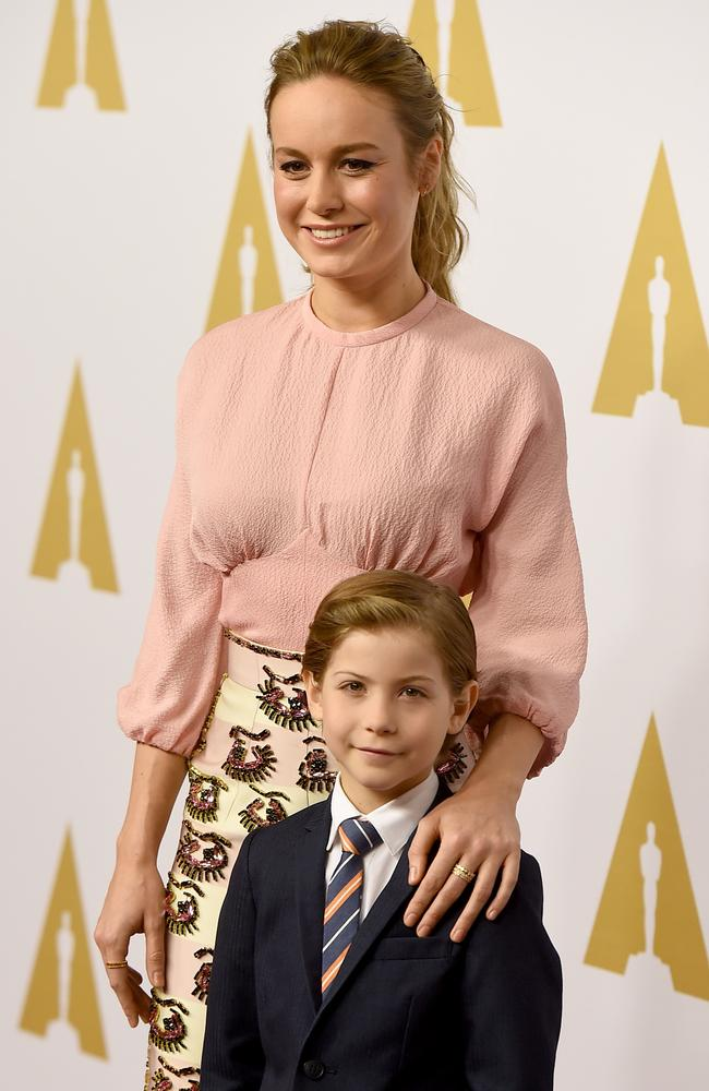 Brie Larson with Jacob Tremblay who starred in the movie Room. Picture: Kevin Winter / Getty Images