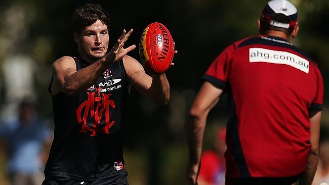 Jesse Hogan at Melbourne training. Picture: Michael Dodge/Getty Images