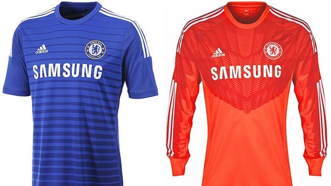 A simple home kit for the Blues, not sure what's doing with the two-toned 'keeper's shirt though.  <b>Away</b> <b></b>