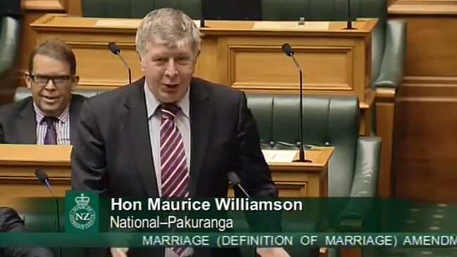 MP Maurice Williamson during his historic speech to Parliament.