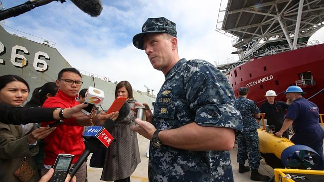 US Captain Mark Matthews who is in change of the pinger device at Stirling Naval Base where the Ocean Shield is being prepared to leave to search for MH370's black box. Picture: Bohdan Warchomij