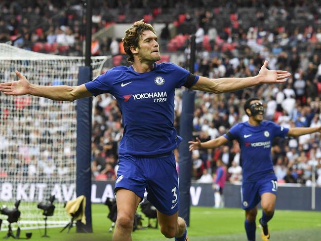 Two goals from Marcos Alonso saw Tottenham beaten at Wembley once again.