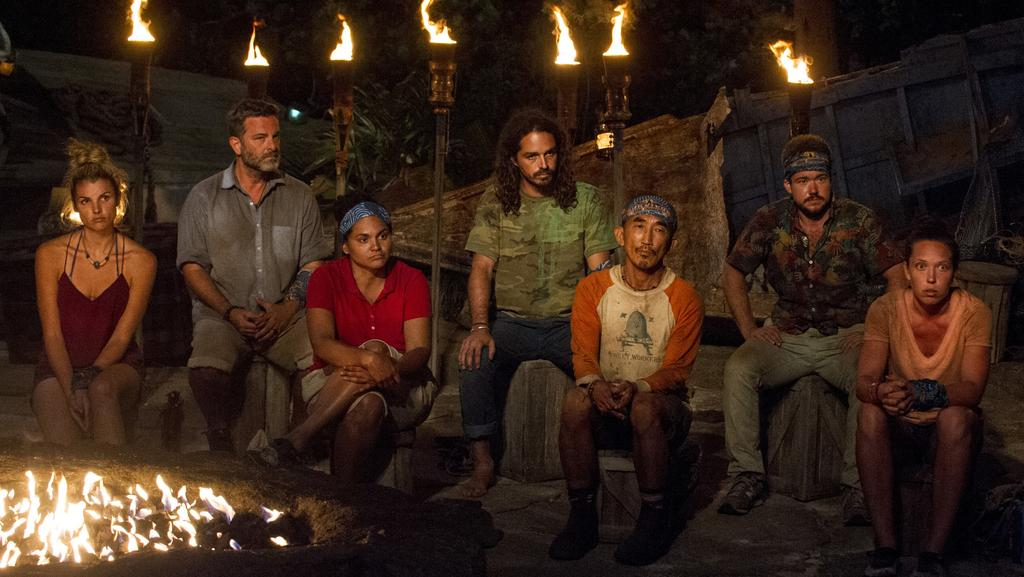 Jeff Varner (second from left) outed his trans competitor Zeke Smith (second from right) on Survivor. Picture: Jeffrey Neira/CBS via Getty Images